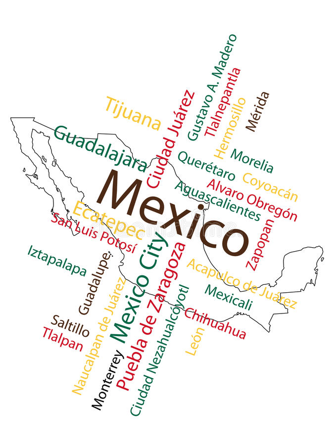 Mexico Map and Cities. Mexico map and words cloud with larger cities