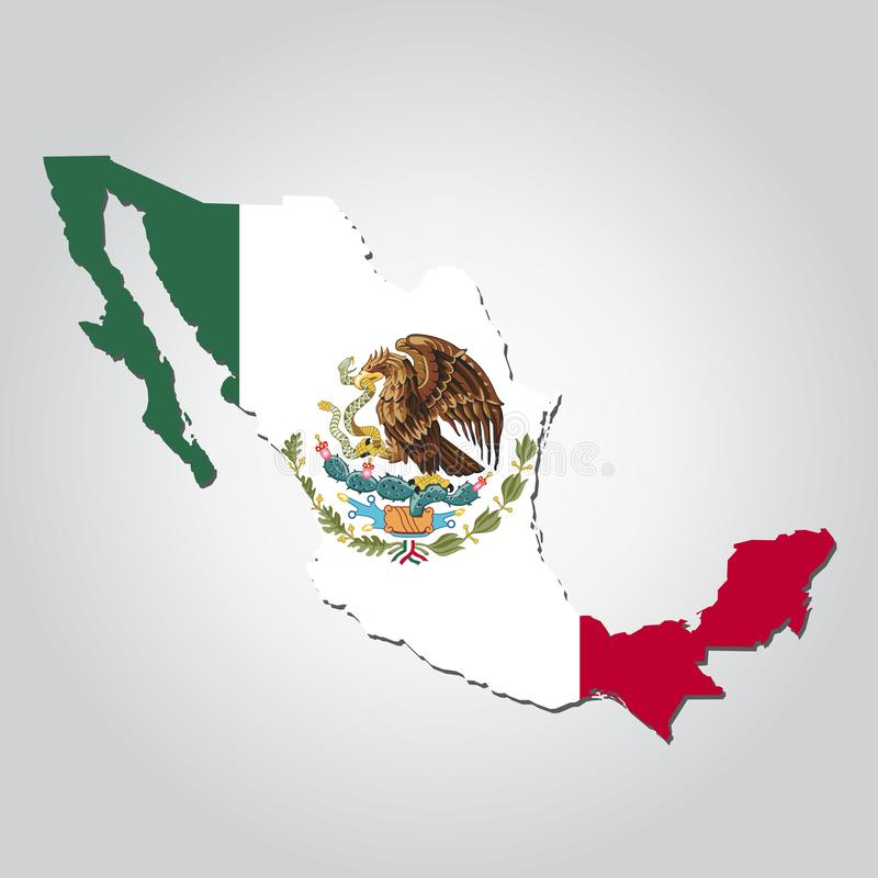 Mexico Map Flag. Mexican, background, country, america, white, isolated, shape, icon, national, land, north, illustration, vector, art, black, pattern, closeup royalty free illustration