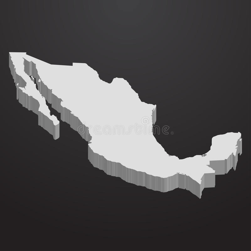 Mexico map in gray on a black background 3d stock illustration