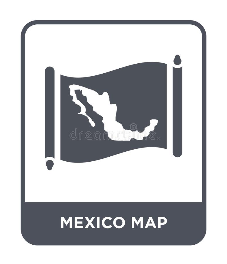 Mexico map icon in trendy design style. mexico map icon isolated on white background. mexico map vector icon simple and modern. Flat symbol for web site, mobile royalty free illustration