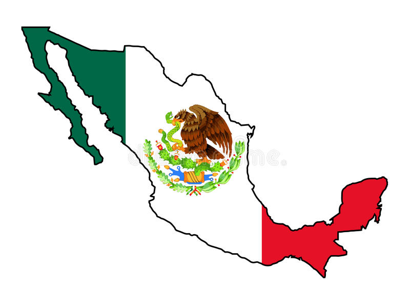 Mexico Map Outline And Flag Stock Vector   Illustration of mexico