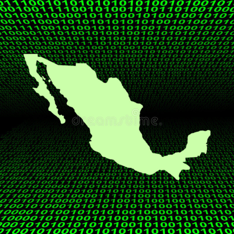 Download Mexico Map Over Binary Code Stock Illustration - Image: 7252346