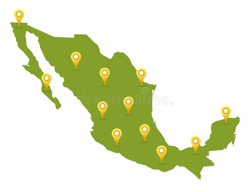 Mexico map with pins stock illustration