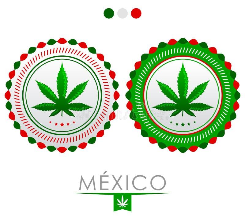 Mexico marijuanaemblem - vektorcannabisskyddsremsa av godkännande med färgerna av flaggan av Mexico stock illustrationer