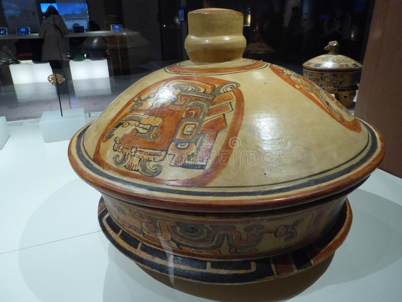 Mexico Maya art acient pot with paintings of mayian life stock photo