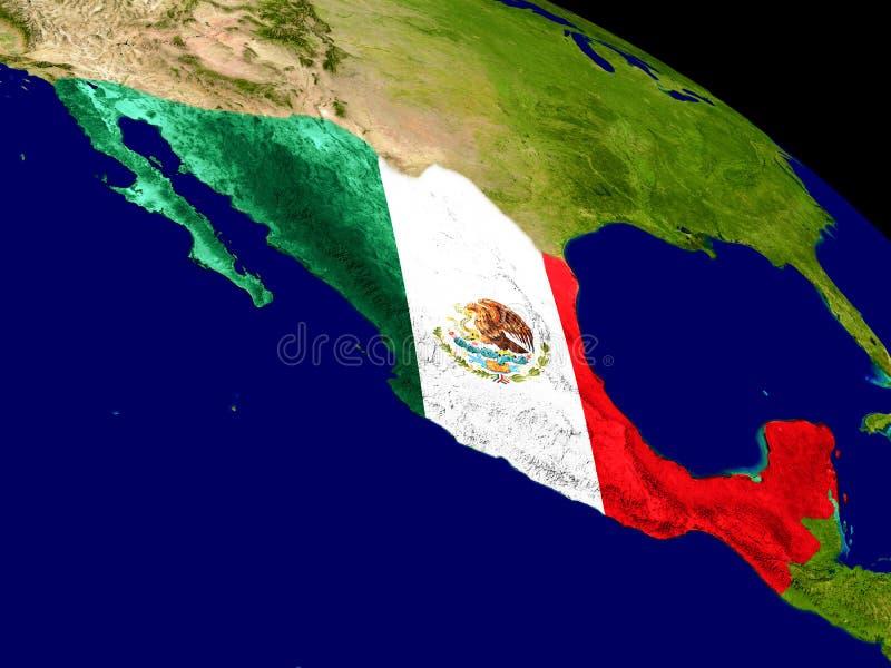 Mexico med flaggan på jord stock illustrationer