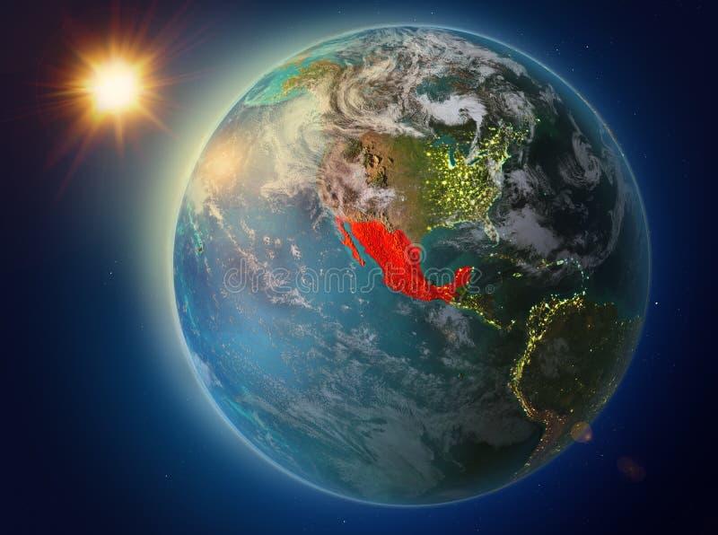 Mexico met zonsondergang ter wereld vector illustratie