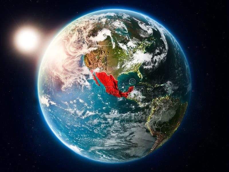 Mexico met zonsondergang van ruimte vector illustratie