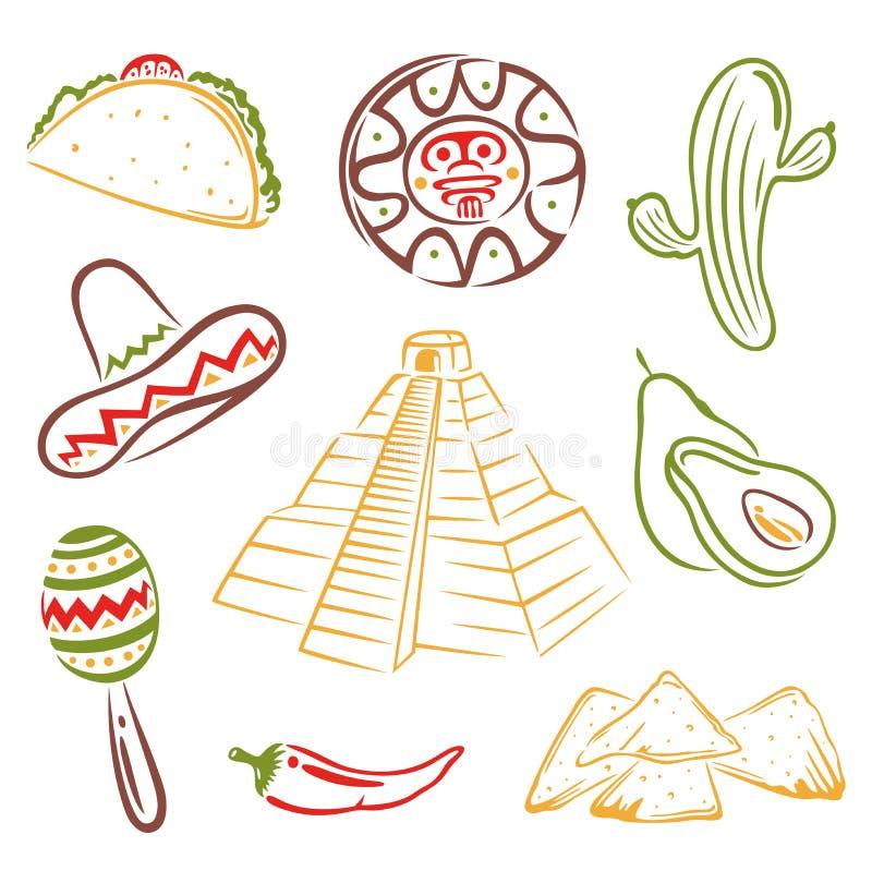 Mexico mexikansk mat stock illustrationer