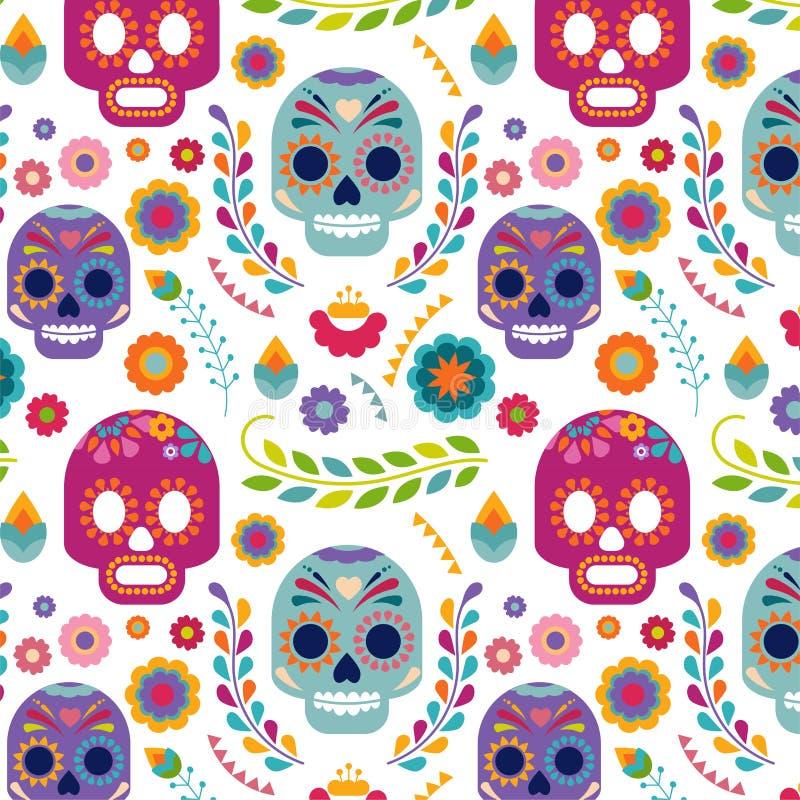 Mexico modell med skallen och blommor stock illustrationer