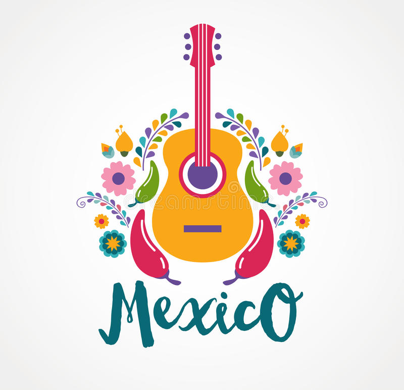Mexico music and food elements royalty free illustration