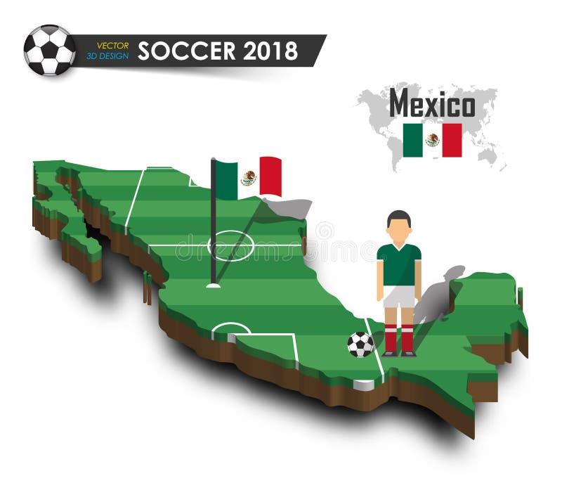 Mexico nationellt fotbolllag Fotbollsspelare och flagga på landsöversikt för design 3d Isolerad bakgrund Vektor för internationel stock illustrationer
