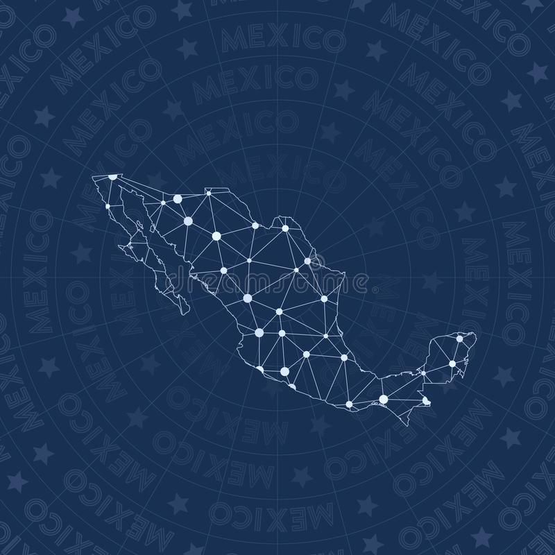 Mexico network, constellation style country map. Remarkable space style, modern design. Mexico network map for infographics or presentation stock illustration