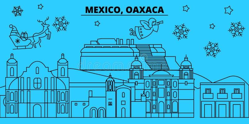 Mexico, Oaxaca-de horizon van de de wintervakantie Vrolijke Kerstmis, Gelukkige Nieuwjaar verfraaide banner met Santa Claus Vlak, stock illustratie