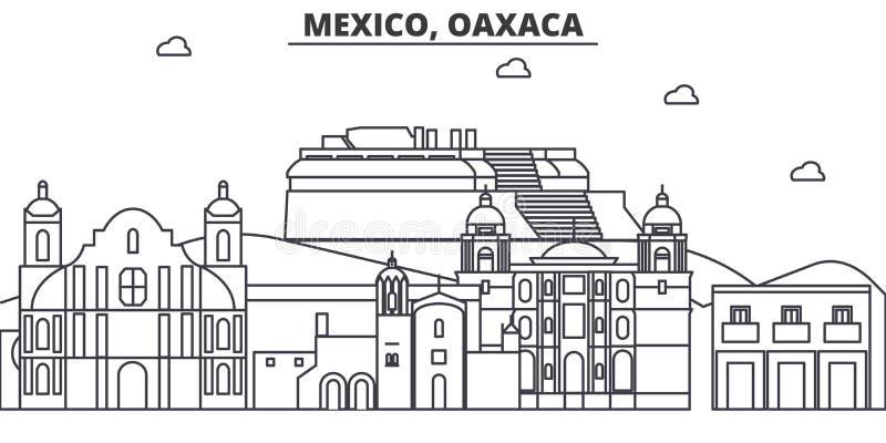 Mexico, Oaxaca-de horizonillustratie van de architectuurlijn Lineaire vectorcityscape met beroemde oriëntatiepunten, stadsgezicht stock illustratie