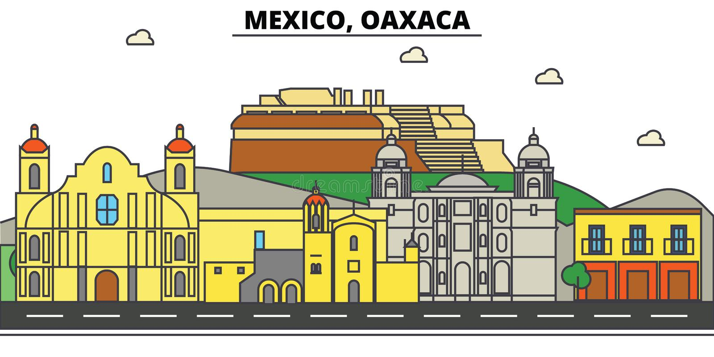 Mexico, Oaxaca Stadshorizon, architectuur, gebouwen, straten, silhouet, landschap, panorama, oriëntatiepunten, pictogrammen stock illustratie