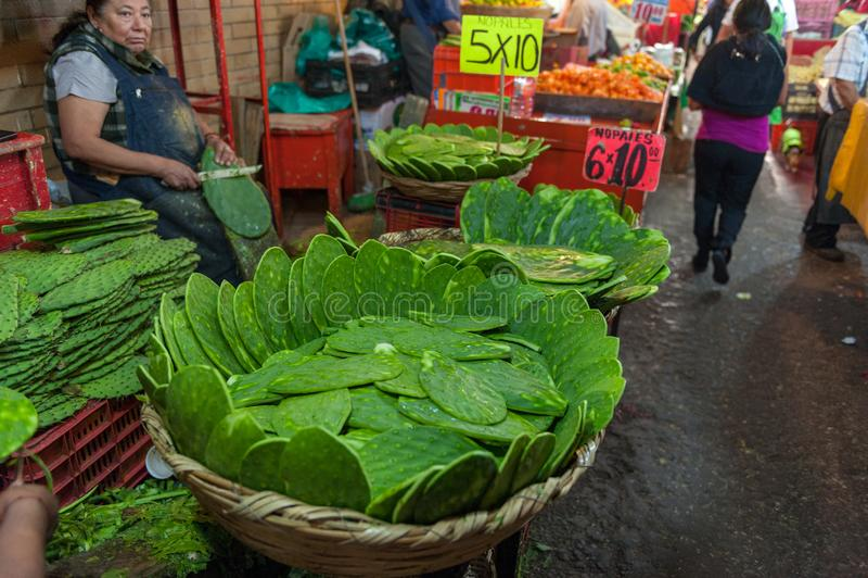 MEXICO - OKTOBER 19, 2017: De Markt van Mexico met Nopales op Verkoop royalty-vrije stock afbeeldingen