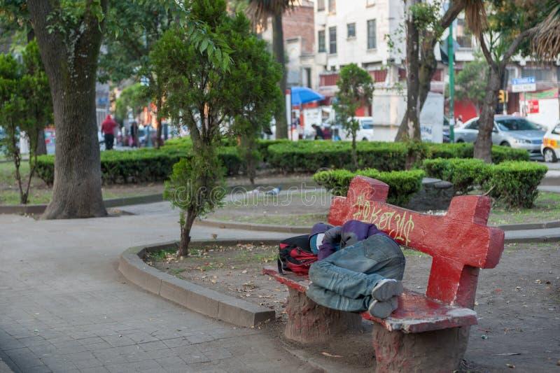 MEXICO - OKTOBER 19, 2017: Mexico morgonCityscape med lokalen parkerar med att sova folk royaltyfria foton