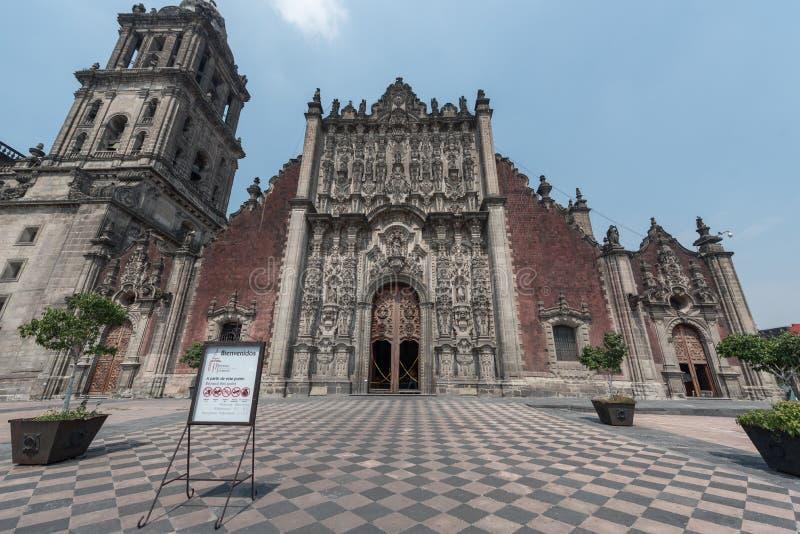 MEXICO - OKTOBER 19, 2017: Mexico - stad och domkyrka royaltyfria foton