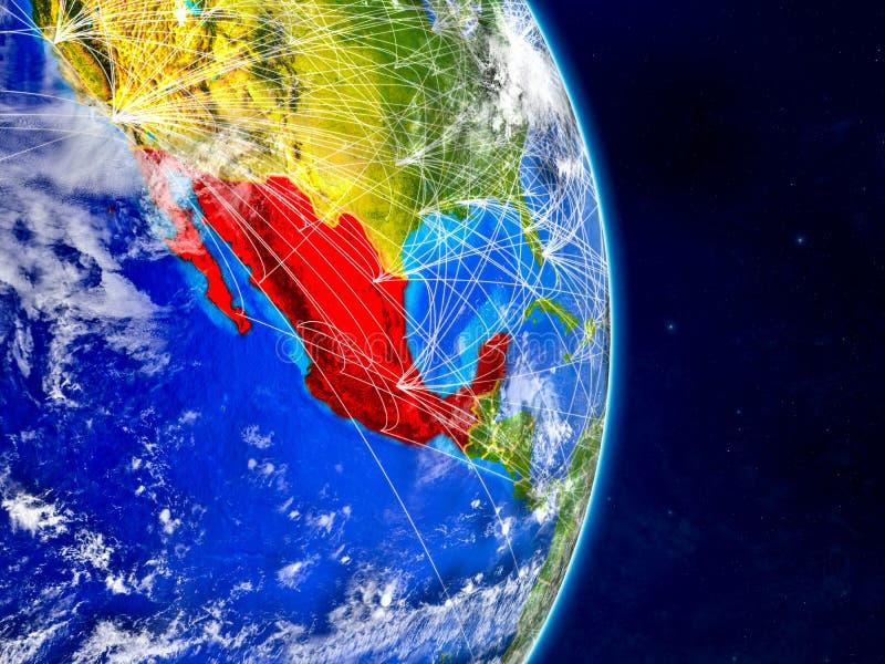 Mexico op aarde met netwerken Uiterst gedetailleerde planeetoppervlakte en wolken 3D Illustratie Elementen van dit beeld vector illustratie