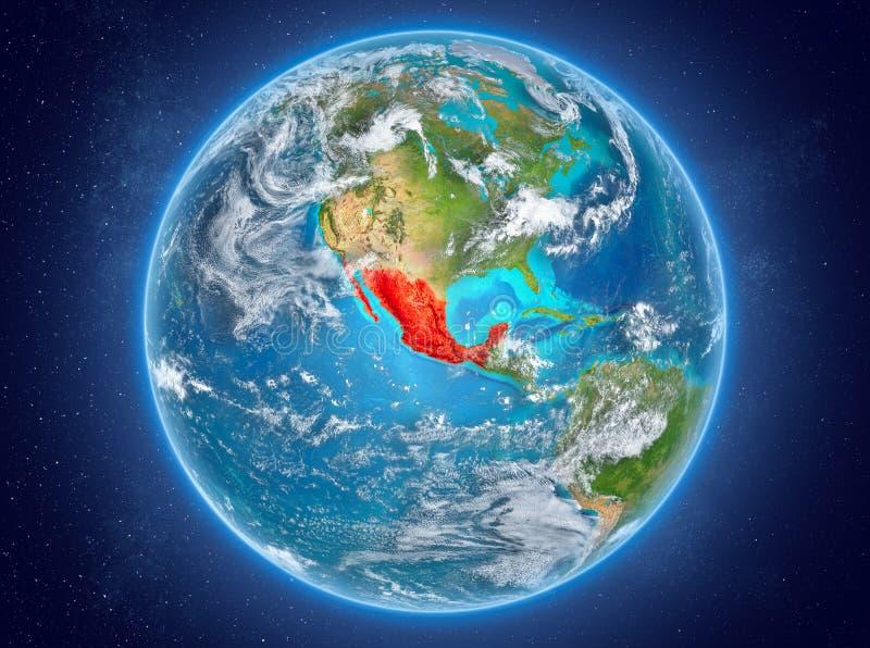 Mexico op aarde in ruimte royalty-vrije illustratie