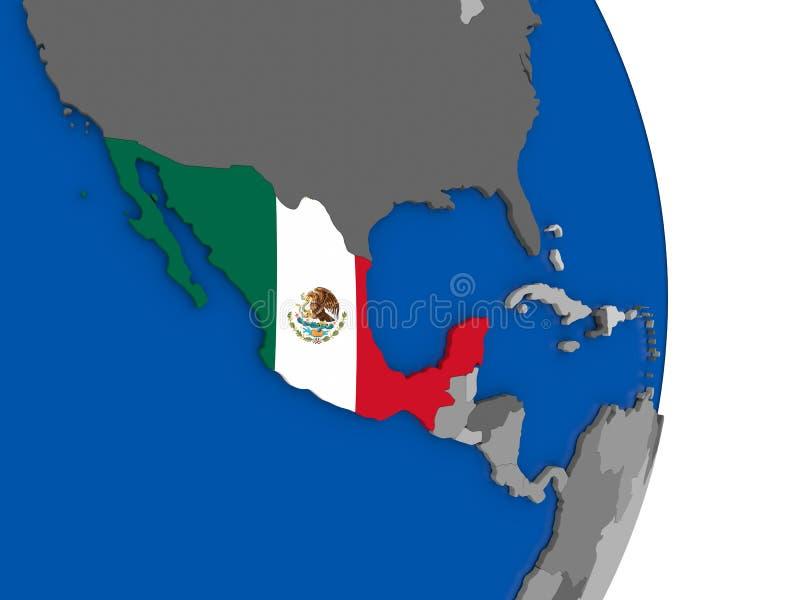 Mexico op bol met vlag vector illustratie