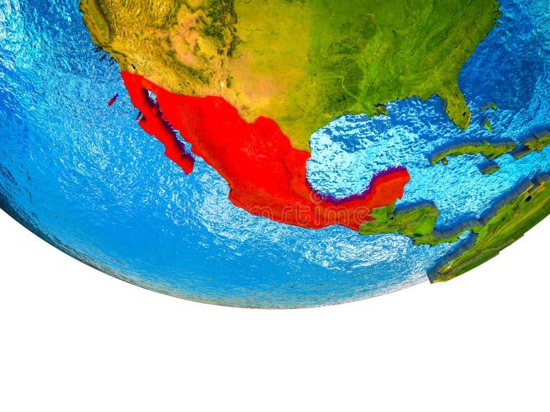 Mexico op 3D Aarde royalty-vrije illustratie