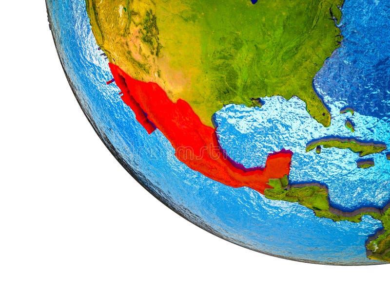 Mexico op 3D Aarde vector illustratie