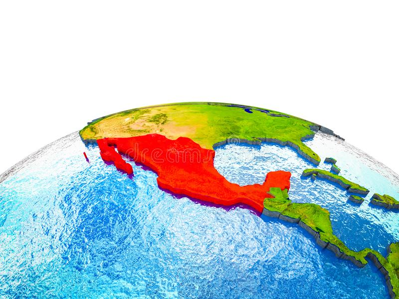 Mexico op 3D Aarde stock illustratie