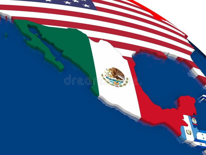 Mexico op 3D kaart met vlaggen stock illustratie