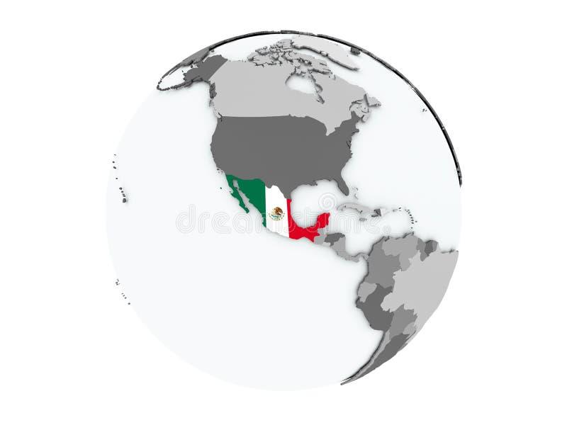 Mexico på det isolerade jordklotet stock illustrationer