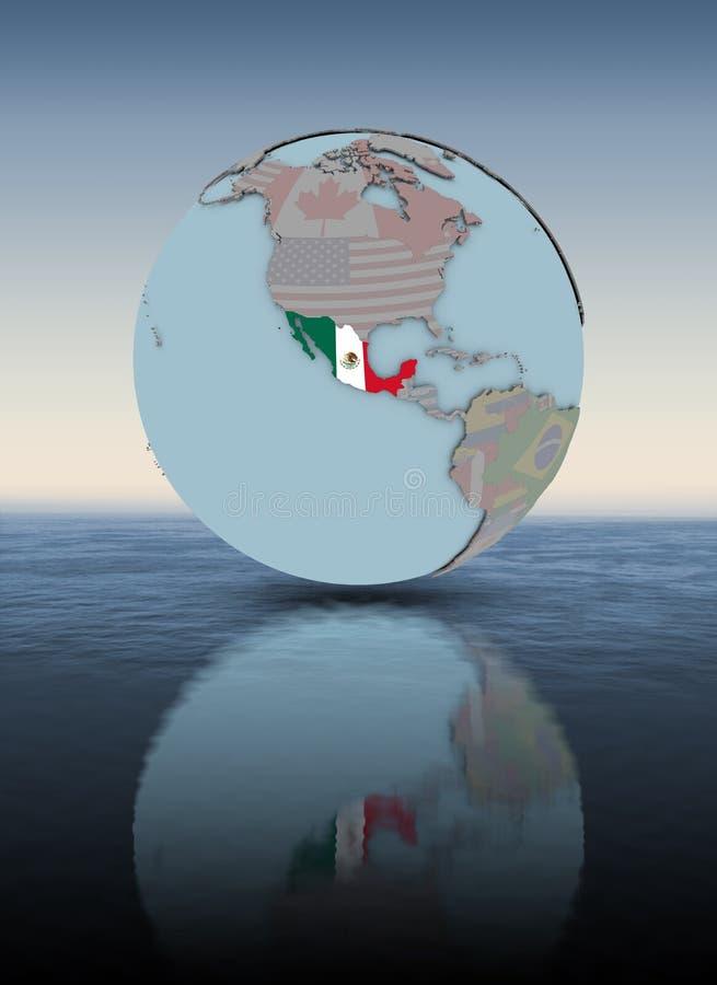 Mexico på för jordklot vattenyttersida över - royaltyfri illustrationer