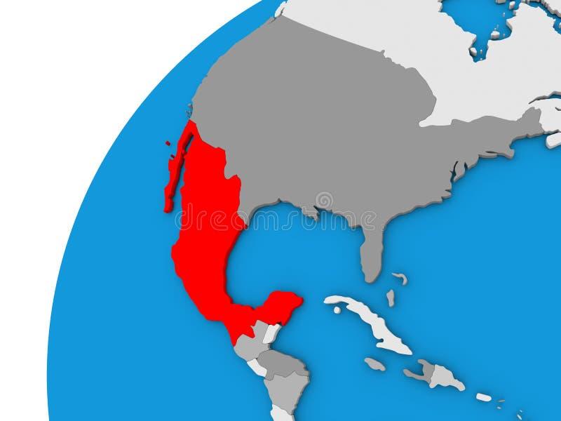 Mexico på jordklotet i rött vektor illustrationer