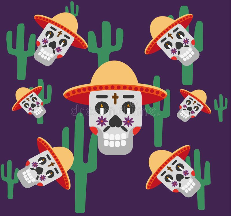 Mexico pattern with skull in hat, cactus, cross and candles . Day of the dead sugar skull banner for mexican celebration. Vector Illustration royalty free illustration