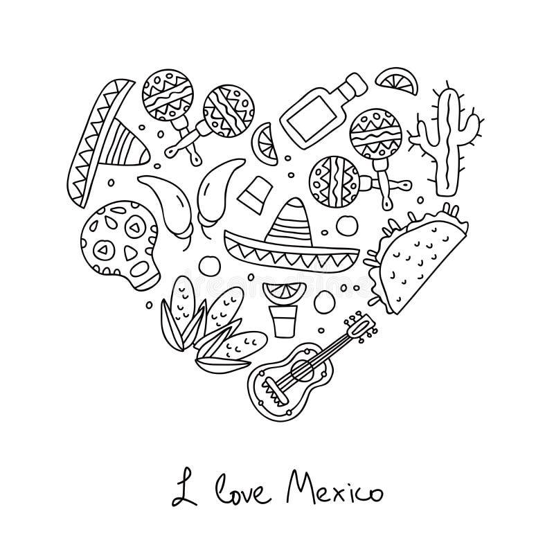 mexico Pictogrammen in de vorm van een hart stock illustratie