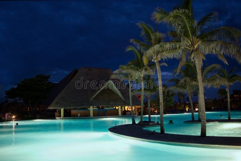 Mexico pool night stock image