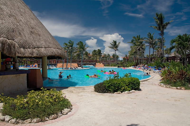 Mexico Pool Palms Royalty Free Stock Photography