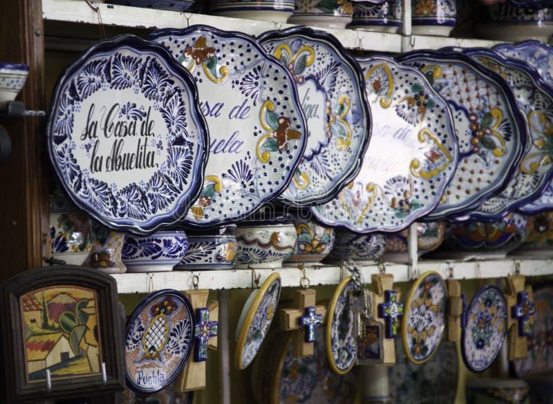 mexico Puebla typowy pamiątkarski Talavera obrazy stock