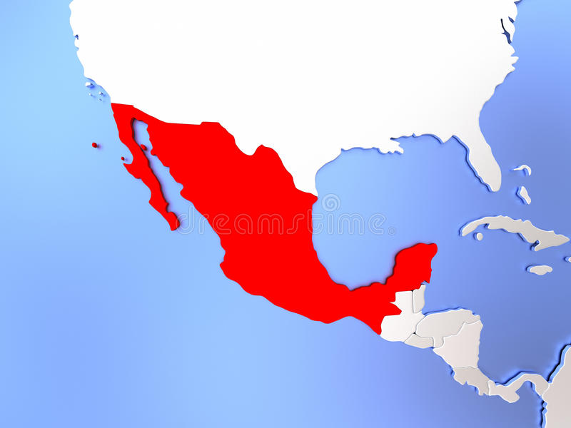 map of mexico highlighted in red on simple shiny metallic map with clear country borders 3d illustration
