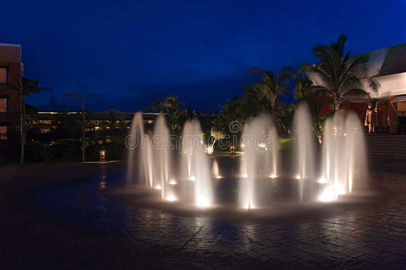 Download Mexico Resort Waterworks Night Stock Photo - Image of latin, mexico: 1456206
