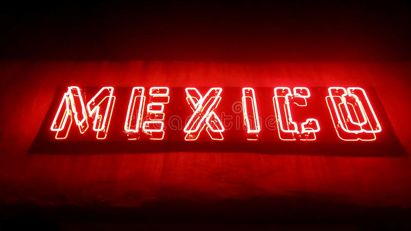 Mexico Restaurant Sign. Red neon sign Mexico restaurant in Hamilton New Zealand stock image