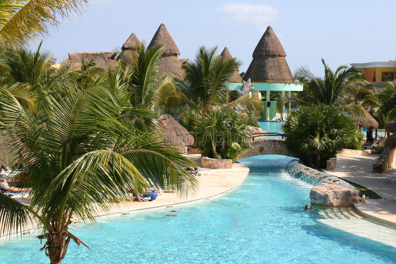 Mexico riviera maya iberostar paraiso lindo pool royalty free stock image