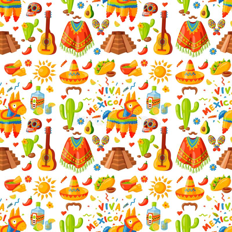 Mexico seamless pattern background vector illustration traditional graphic travel tequila alcohol fiesta drink ethnicity. Mexico seamless pattern background stock illustration