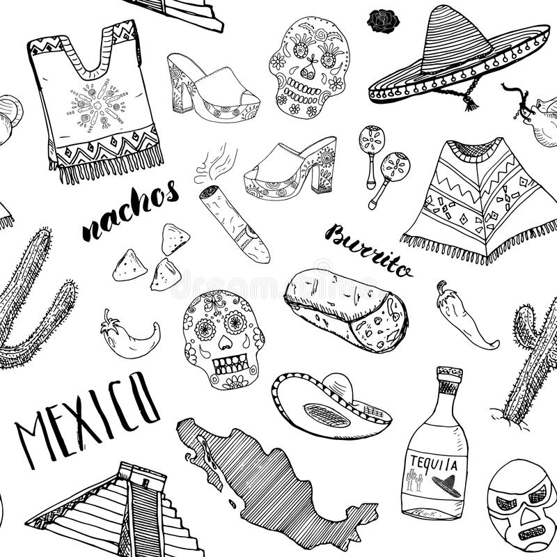Mexico seamless pattern doodle elements, Hand drawn sketch mexican traditional sombrero hat, boots, poncho, cactus and tequila bot. Tle, map of mexico, burrito stock illustration