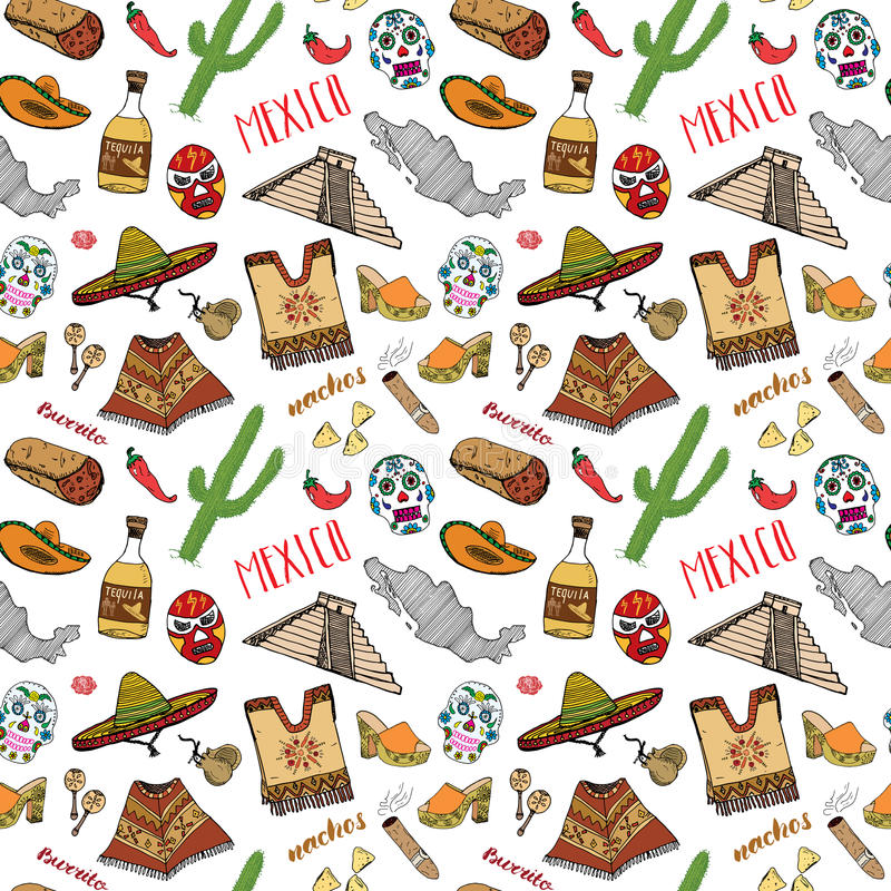 Mexico seamless pattern doodle elements, Hand drawn sketch mexican traditional sombrero hat, boots, poncho, cactus and tequila bot. Tle, map of mexico, burrito vector illustration