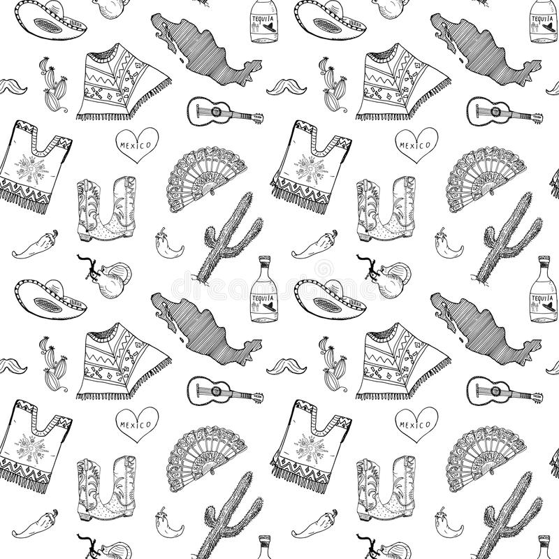Mexico seamless pattern doodle elements, Hand drawn sketch mexican traditional sombrero hat, boots, poncho, cactus and tequila bot. Tle, map of mexico, music royalty free illustration
