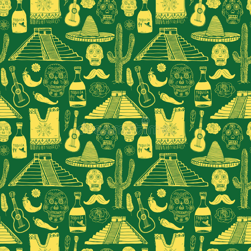 Mexico seamless pattern doodle elements, Hand drawn sketch mexican traditional sombrero hat, poncho, cactus and tequila bottle, ma. P of mexico, skull, music royalty free illustration