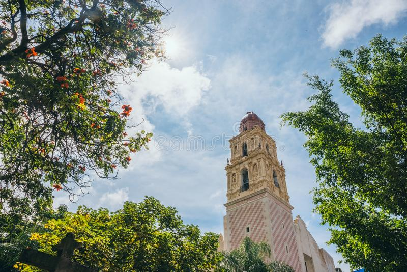 MEXICO - SEPTEMBER 22: Cathedral tower with colonial architecture on a sunny day, September 22, 2017 in Cuernavaca, Mexico stock image