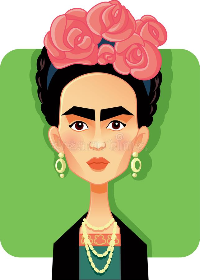 Mexico, 15 September 2018, Frida Kahlo Vector Caricature royalty-vrije illustratie