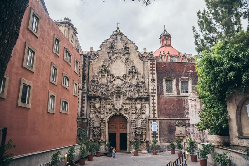 MEXICO - SEPTEMBER 20: Front view of a church located near Zocalo in Mexico city downtown royalty free stock photos